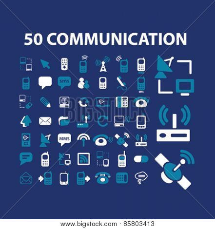 50 communication, connection icons, signs, illustrations concept design set on background, vector