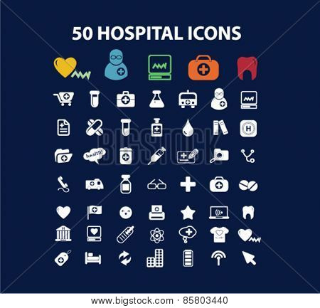 50 hospital, medicine icons, signs, illustrations concept design set on background, vector