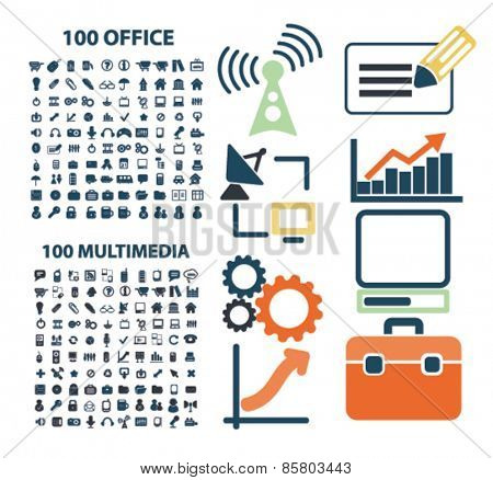 200 office, multimedia, management, media, communication icons, signs, illustrations concept design set on background, vector
