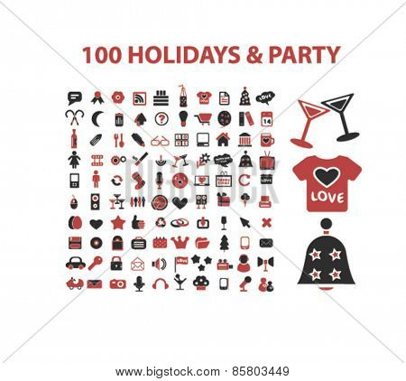 100 holidays, celebration, party icons, signs, illustrations concept design set on background, vector