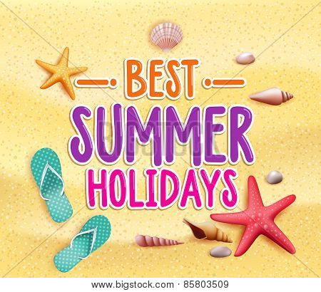 Best Summer Holidays Colorful Title Words in the Beach Yellow Sand