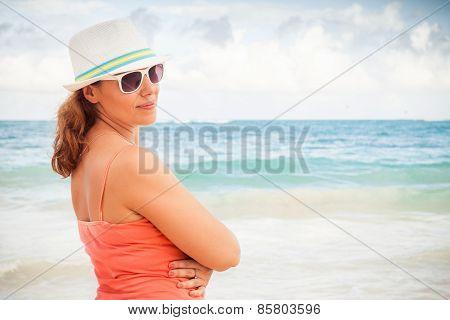Young Happy Woman Portrait On Ocean Coast