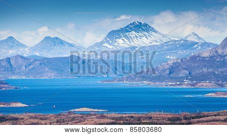Norwegian Mountain Landscape With Sea And Fjords
