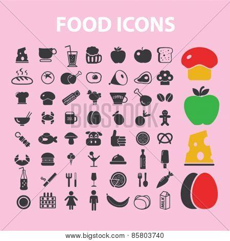 food, vegetables, caffe, restaurant, fruits icons, signs, illustrations concept design set on background, vector