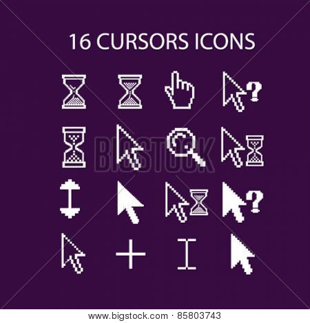 16 select, interface pixel cursors icons, signs, illustrations concept design set on background, vector