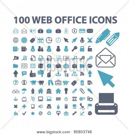 100 web office, document, management, interface icons, signs, illustrations concept design set on background, vector