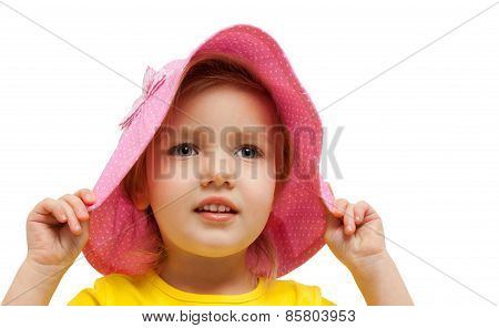 child girl pink hat look admire fashion portrait