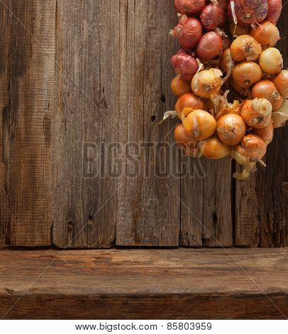 wooden table wall background onions brunch