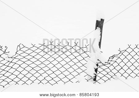 Wire fence in the snow