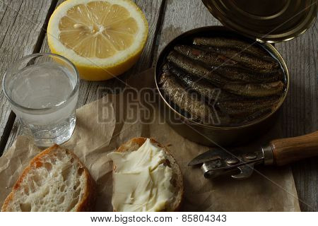 sandwich with sprats, national food in Russia for the holidays