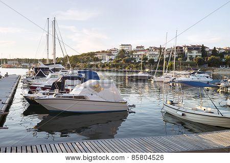 Boats In Marina In Adriatic Sea Bay Harbor In Pula, Croatia