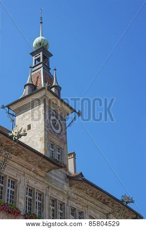 Castle Clock Tower In Lausanne