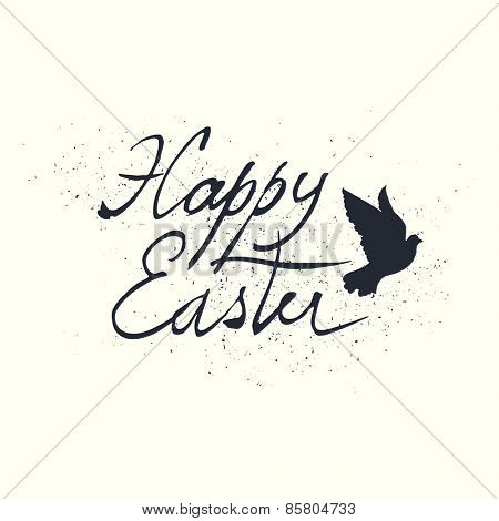 Easter Retro Design with Bird Silhouette. Hand drawn, grunge calligraphic symbol for Easter.