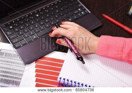 Businesswoman Checking Budget