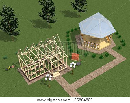 Construction Of Wooden Cottages.