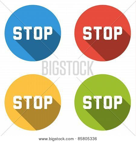 Collection Of 4 Isolated Flat Colorful Buttons For Stop