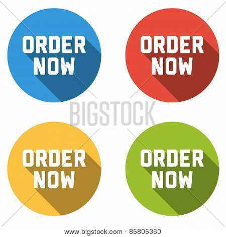 Collection Of 4 Isolated Flat Colorful Buttons (icons) With Order Now Text
