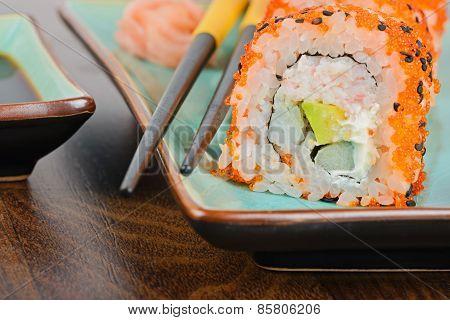 Closeup California Maki Sushi On The Table