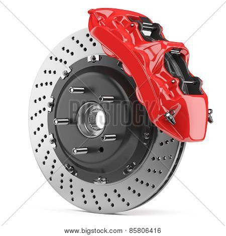 Automobile Brake Disk And Red Caliper