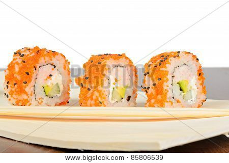 Closeup Of Three California Maki Sushi In Row