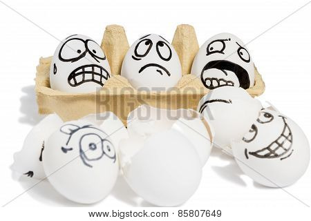Three emotional eggs