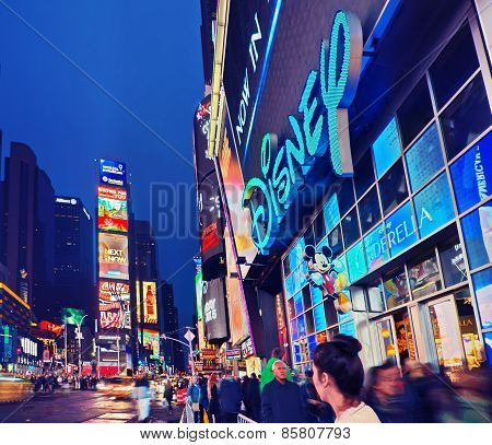 Broadway Times Square At Night, New York
