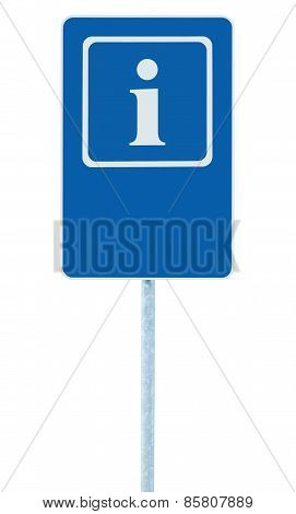 Info Sign In Blue, White I Letter Icon And Frame, Blank Empty Copy Space Background, Isolated