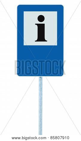Info Sign In Blue, Black I Letter Icon, White Frame, Blank Empty Copy Space Background, Isolated