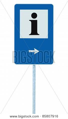 Info Sign In Blue, Black I Letter Icon, White Frame, Right Hand Pointing Arrow, Isolated Roadside