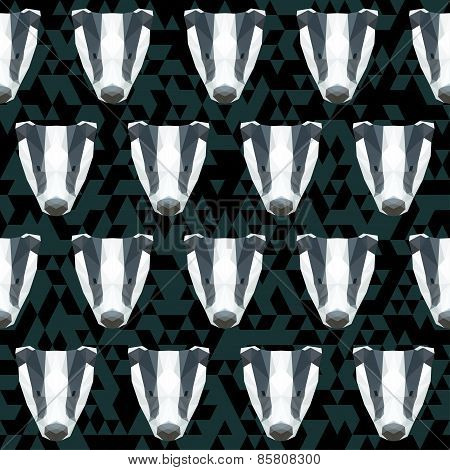 Abstract Polygonal Geometric Triangle Badger Seamless Pattern Background