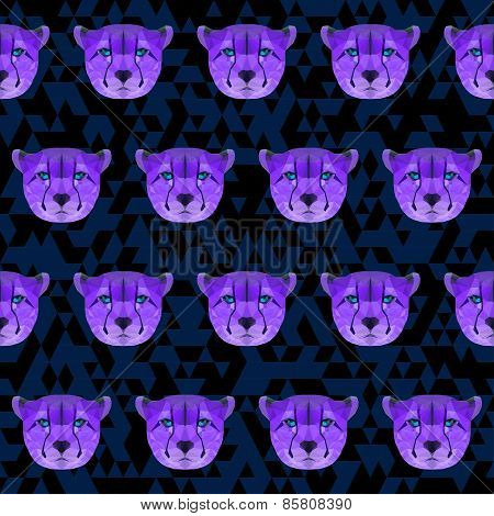 Abstract Bright Purple Colored Polygonal Geometric Triangle Cheetah Seamless Pattern