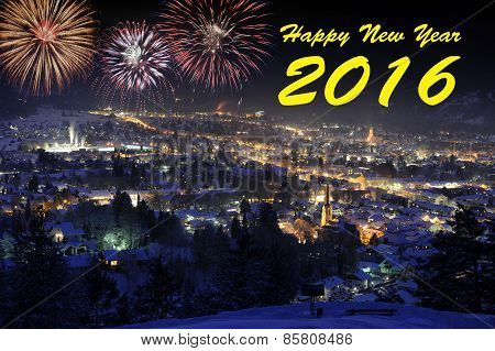 Happy new year 2016 with firework over city