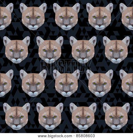 Abstract Polygonal Geometric Triangle Puma Seamless Pattern Background