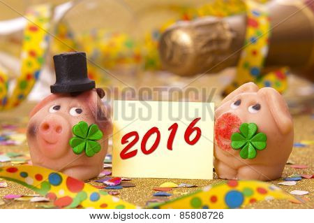 Happy new year 2016 with pig as lucky charm