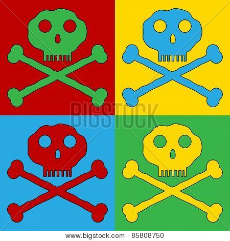 Pop Art Skull And Bones Danger Sign Symbol Icons.
