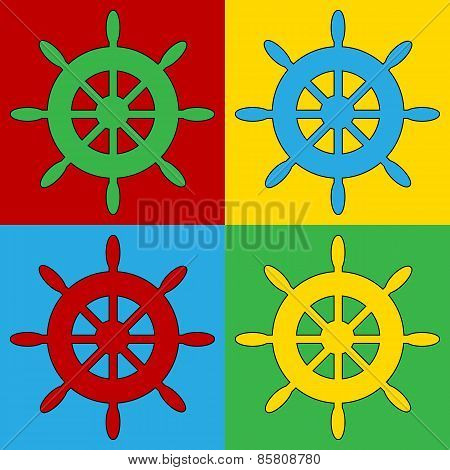Pop Art Steering Wheel Symbol Icons.