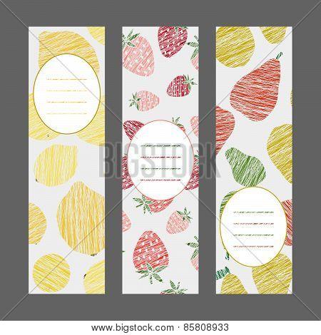 Serie of Harvest berry ornament. Set of Vertical Fruit Banners. Vector Illustration.