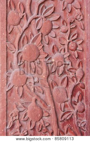 Architectural Detail Of Carved Flowers  At Fatehpur Sikri Palace In Agra