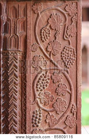 Grape Carvings At Fatehpur Sikri Palace In Agra, Uttar Pradesh, India