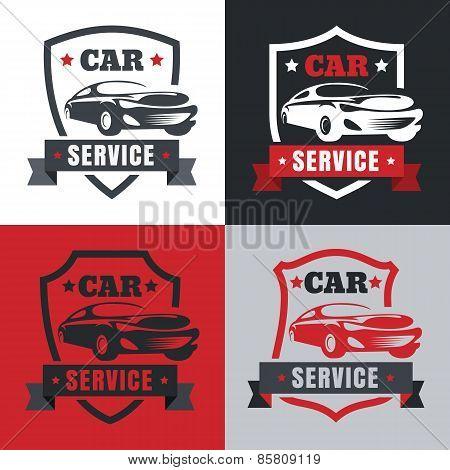 Set Of Vintage Style Car Service Label. Vector Logo Design Template