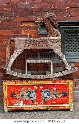 Ancient Nepalese wooden horse