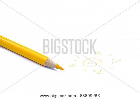 Yellow pencil crayon and sun
