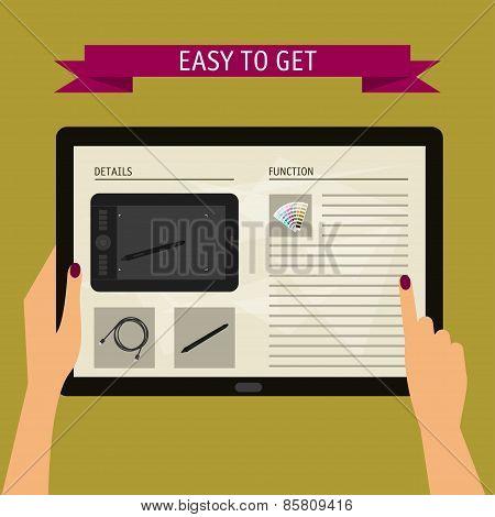 Concept Of Hands Holding Digital Tablet With Website. Flat Design