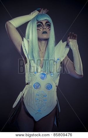 Technology, Droid woman, future robot with white armor dress