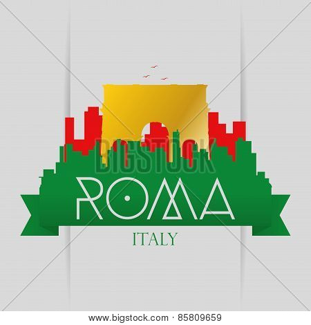 a set of labels and backgrounds with famous places in rome
