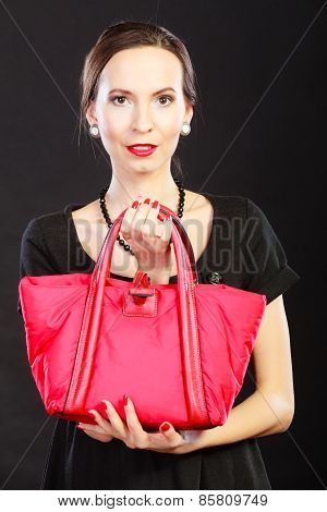 Retro Stylish Woman With Red Handbag