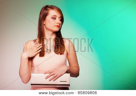 Fashion Girl With Elegant Handbag Bag