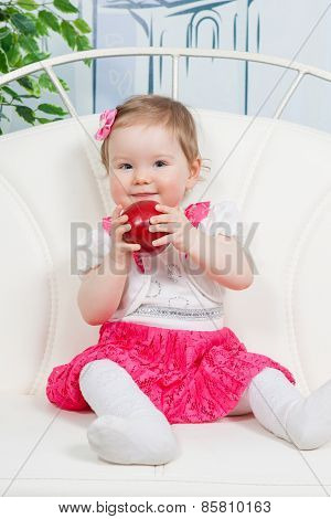 Little Baby Girl With Apple