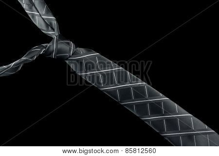 Gray necktie in silk with stripes