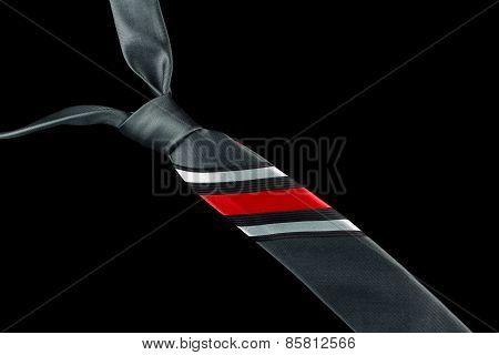Gray necktie in silk with stripes